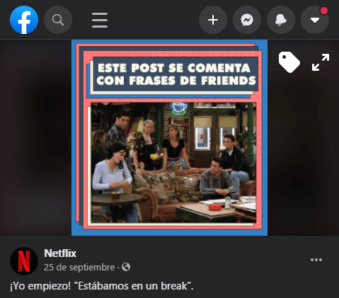 Publicación en Facebook de Netflix