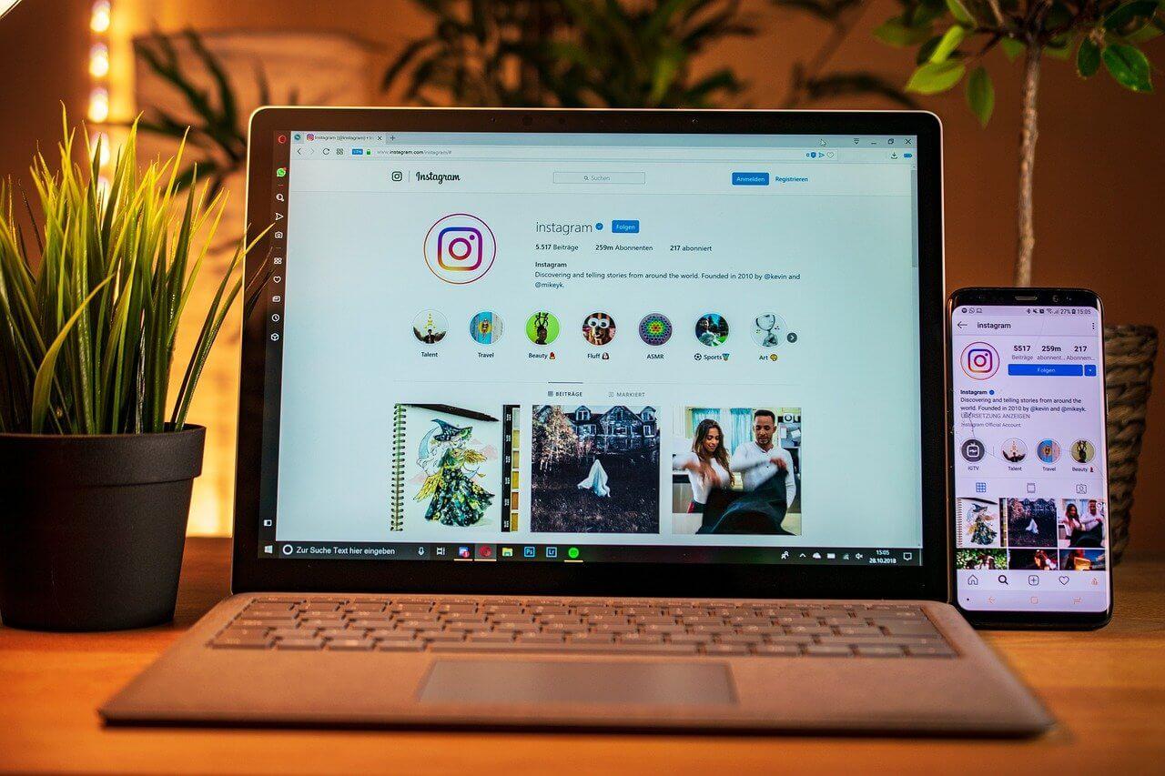 Instagram en pantalla de un ordenador